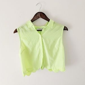 Lush Neon Collared Button Up Crop Top Large NWT
